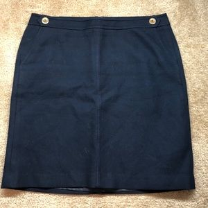 Talbots Navy Skirt with Gold Buttons